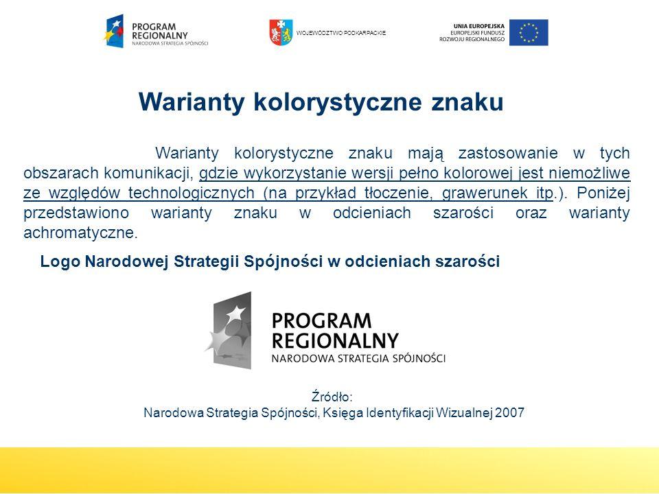 Logo Narodowej Strategii Spójności w odcieniach szarości Warianty kolorystyczne znaku mają zastosowanie w tych obszarach komunikacji, gdzie wykorzysta