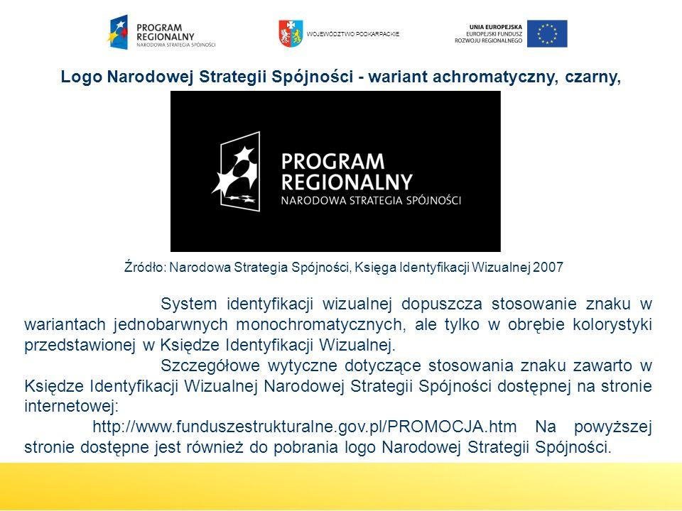 Logo Narodowej Strategii Spójności - wariant achromatyczny, czarny, negatyw System identyfikacji wizualnej dopuszcza stosowanie znaku w wariantach jed