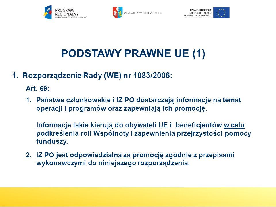 1.Rozporządzenie Rady (WE) nr 1083/2006: Art. 69: 1.Państwa członkowskie i IZ PO dostarczają informacje na temat operacji i programów oraz zapewniają