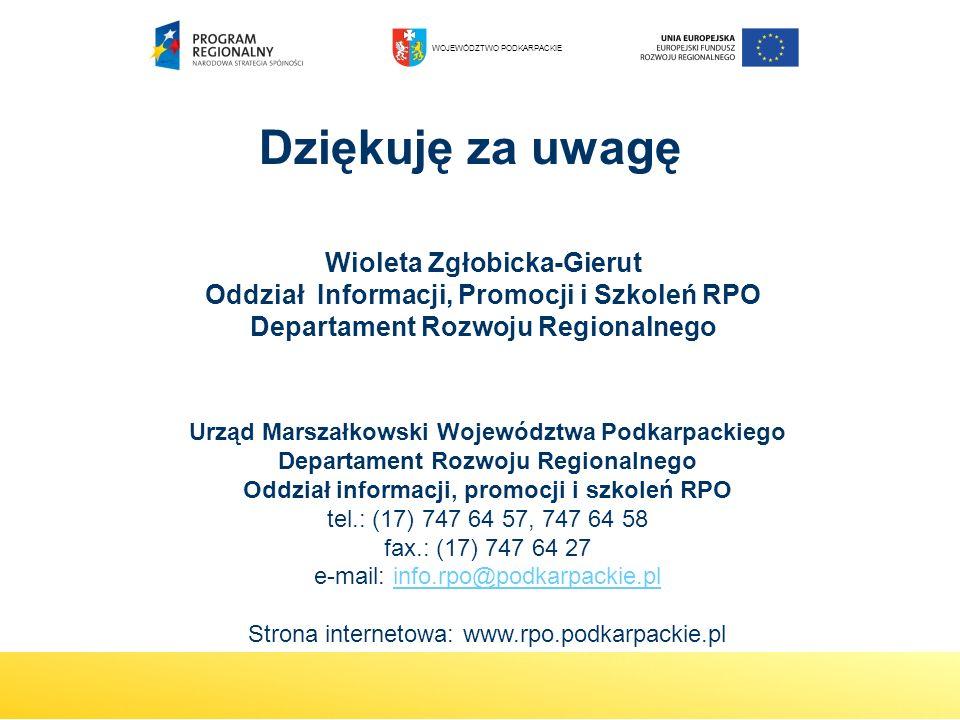 Wioleta Zgłobicka-Gierut Oddział Informacji, Promocji i Szkoleń RPO Departament Rozwoju Regionalnego Dziękuję za uwagę Urząd Marszałkowski Województwa