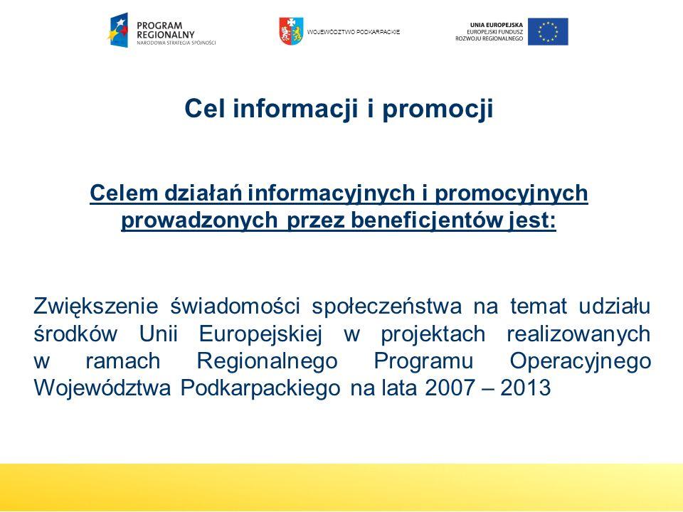 Cel informacji i promocji Celem działań informacyjnych i promocyjnych prowadzonych przez beneficjentów jest: Zwiększenie świadomości społeczeństwa na