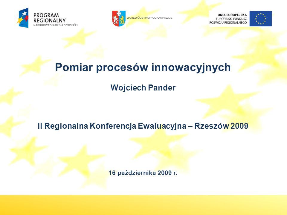 Pomiar procesów innowacyjnych Wojciech Pander II Regionalna Konferencja Ewaluacyjna – Rzeszów 2009 16 października 2009 r. WOJEWÓDZTWO PODKARPACKIE
