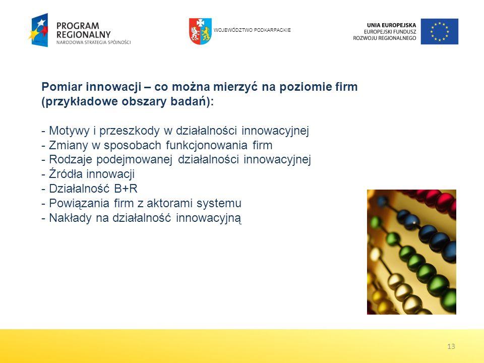 13 Pomiar innowacji – co można mierzyć na poziomie firm (przykładowe obszary badań): - Motywy i przeszkody w działalności innowacyjnej - Zmiany w sposobach funkcjonowania firm - Rodzaje podejmowanej działalności innowacyjnej - Źródła innowacji - Działalność B+R - Powiązania firm z aktorami systemu - Nakłady na działalność innowacyjną WOJEWÓDZTWO PODKARPACKIE