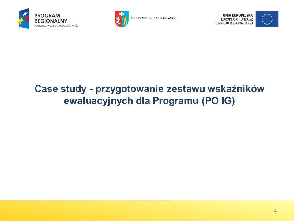 14 Case study - przygotowanie zestawu wskaźników ewaluacyjnych dla Programu (PO IG) WOJEWÓDZTWO PODKARPACKIE