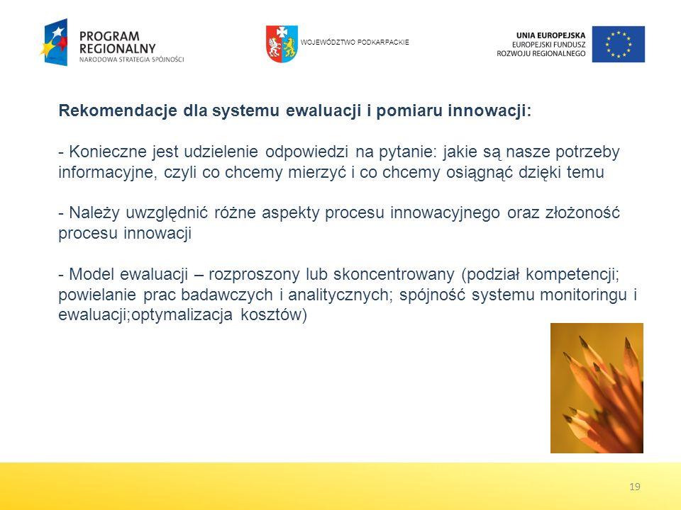 19 Rekomendacje dla systemu ewaluacji i pomiaru innowacji: - Konieczne jest udzielenie odpowiedzi na pytanie: jakie są nasze potrzeby informacyjne, czyli co chcemy mierzyć i co chcemy osiągnąć dzięki temu - Należy uwzględnić różne aspekty procesu innowacyjnego oraz złożoność procesu innowacji - Model ewaluacji – rozproszony lub skoncentrowany (podział kompetencji; powielanie prac badawczych i analitycznych; spójność systemu monitoringu i ewaluacji;optymalizacja kosztów) WOJEWÓDZTWO PODKARPACKIE