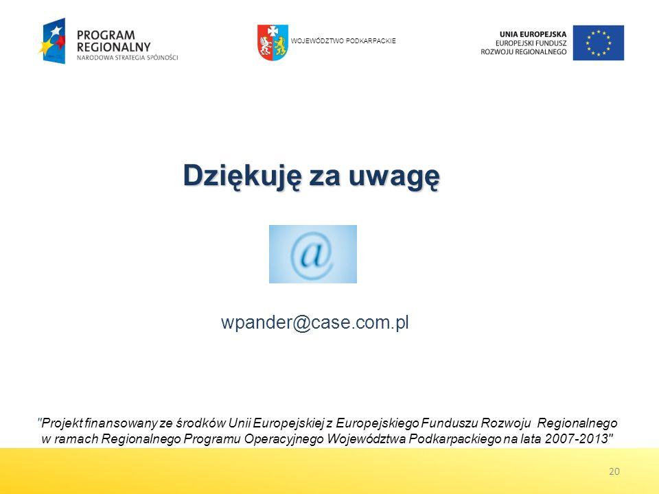 Dziękuję za uwagę Projekt finansowany ze środków Unii Europejskiej z Europejskiego Funduszu Rozwoju Regionalnego w ramach Regionalnego Programu Operacyjnego Województwa Podkarpackiego na lata 2007-2013 20 wpander@case.com.pl WOJEWÓDZTWO PODKARPACKIE