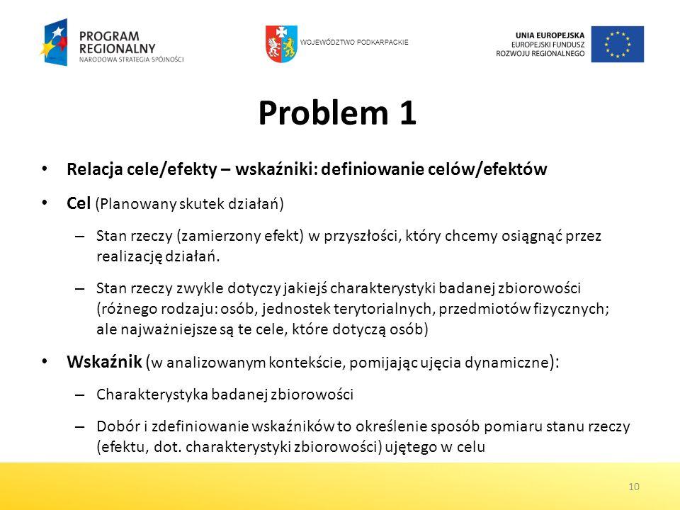 Problem 1 Relacja cele/efekty – wskaźniki: definiowanie celów/efektów Cel (Planowany skutek działań) – Stan rzeczy (zamierzony efekt) w przyszłości, k