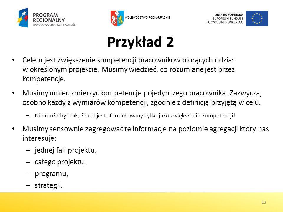 Przykład 2 Celem jest zwiększenie kompetencji pracowników biorących udział w określonym projekcie. Musimy wiedzieć, co rozumiane jest przez kompetencj