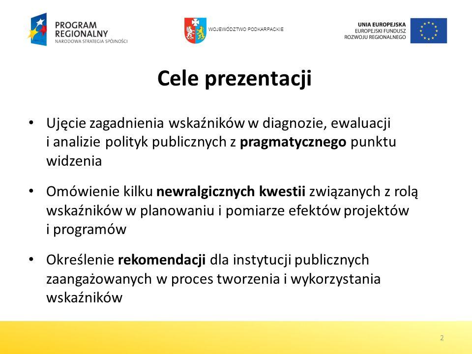 Cele prezentacji Ujęcie zagadnienia wskaźników w diagnozie, ewaluacji i analizie polityk publicznych z pragmatycznego punktu widzenia Omówienie kilku
