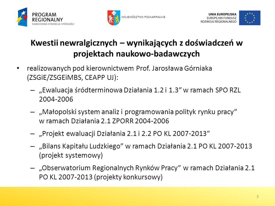 Kwestii newralgicznych – wynikających z doświadczeń w projektach naukowo-badawczych realizowanych pod kierownictwem Prof. Jarosława Górniaka (ZSGiE/ZS