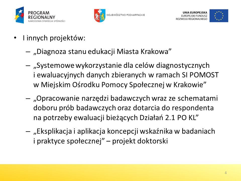 I innych projektów: – Diagnoza stanu edukacji Miasta Krakowa – Systemowe wykorzystanie dla celów diagnostycznych i ewaluacyjnych danych zbieranych w r
