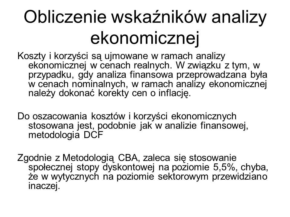 Obliczenie wskaźników analizy ekonomicznej Koszty i korzyści są ujmowane w ramach analizy ekonomicznej w cenach realnych. W związku z tym, w przypadku