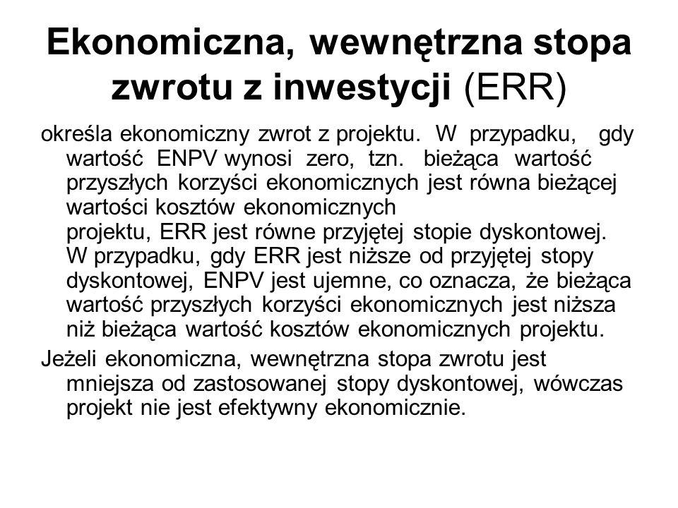 Ekonomiczna, wewnętrzna stopa zwrotu z inwestycji (ERR) określa ekonomiczny zwrot z projektu. W przypadku, gdy wartość ENPV wynosi zero, tzn. bieżąca