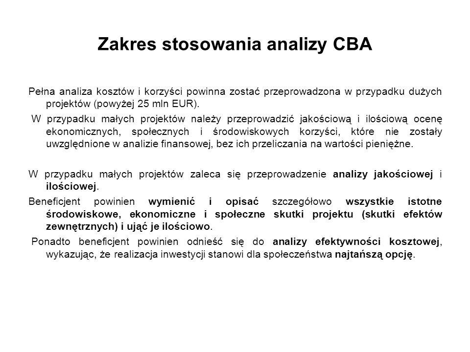 Zakres stosowania analizy CBA Pełna analiza kosztów i korzyści powinna zostać przeprowadzona w przypadku dużych projektów (powyżej 25 mln EUR). W przy