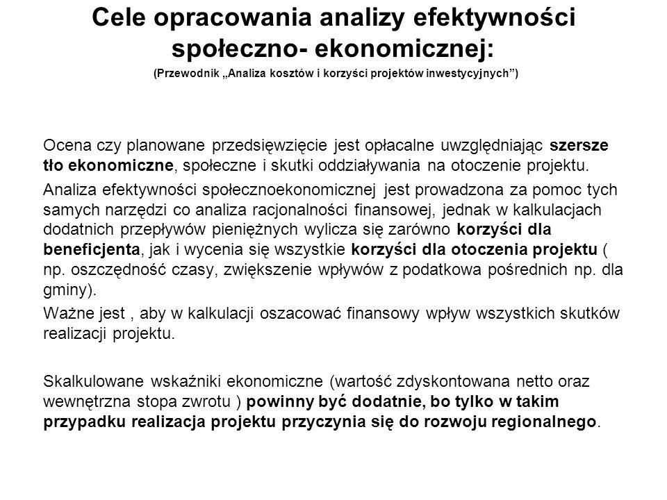 Cele opracowania analizy efektywności społeczno- ekonomicznej: (Przewodnik Analiza kosztów i korzyści projektów inwestycyjnych) Ocena czy planowane pr