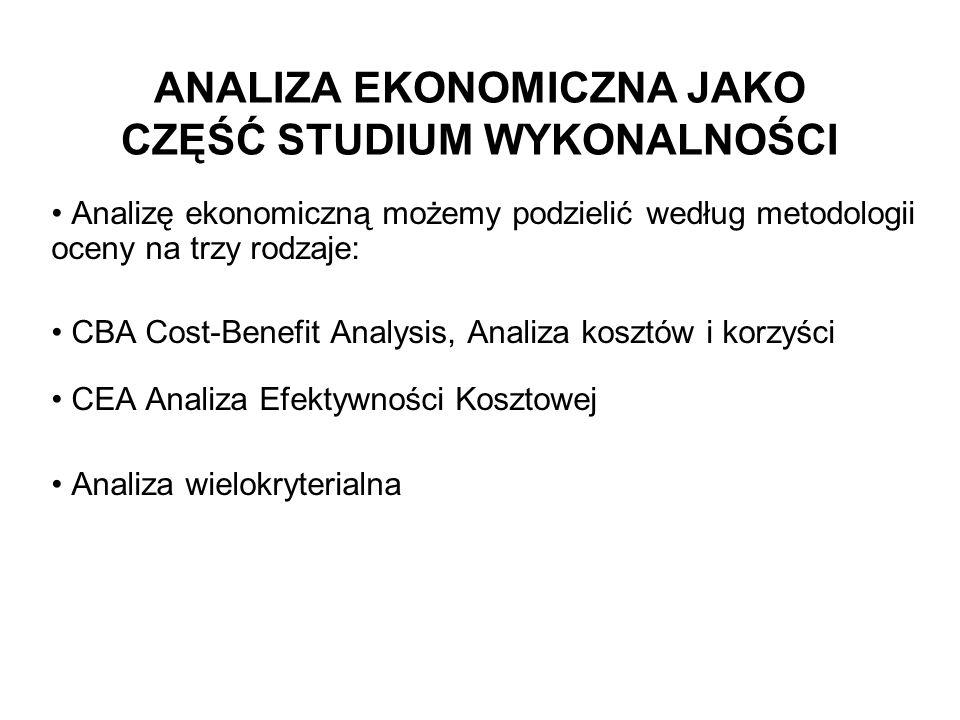 ANALIZA EKONOMICZNA JAKO CZĘŚĆ STUDIUM WYKONALNOŚCI Analizę ekonomiczną możemy podzielić według metodologii oceny na trzy rodzaje: CBA Cost-Benefit An