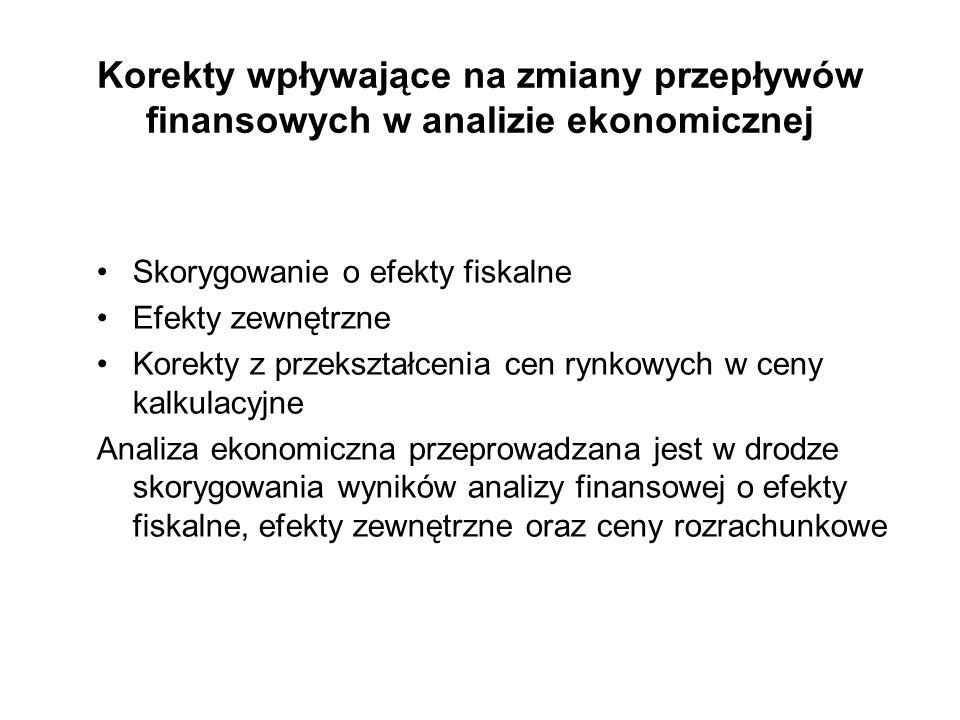 Korekty wpływające na zmiany przepływów finansowych w analizie ekonomicznej Skorygowanie o efekty fiskalne Efekty zewnętrzne Korekty z przekształcenia