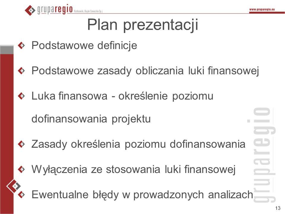 13 Plan prezentacji Podstawowe definicje Podstawowe zasady obliczania luki finansowej Luka finansowa - określenie poziomu dofinansowania projektu Zasady określenia poziomu dofinansowania Wyłączenia ze stosowania luki finansowej Ewentualne błędy w prowadzonych analizach
