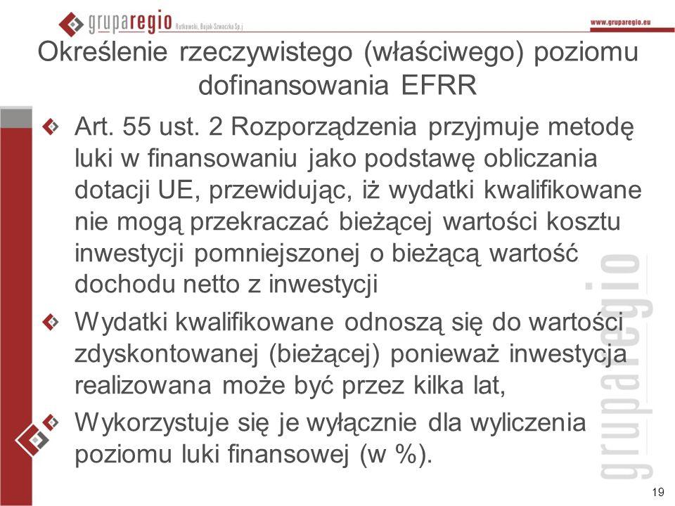 19 Określenie rzeczywistego (właściwego) poziomu dofinansowania EFRR Art.