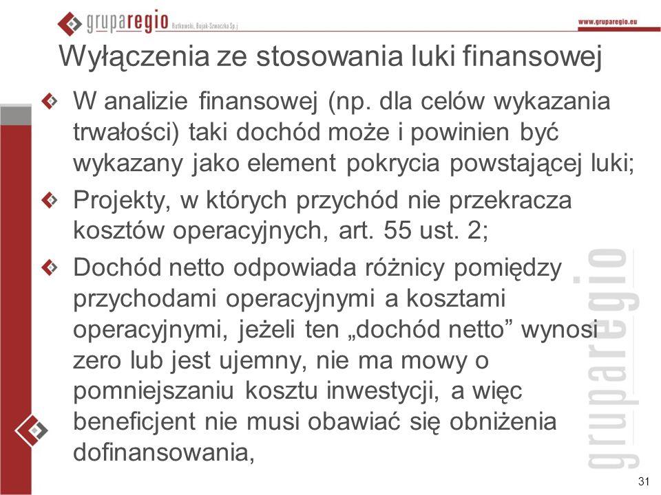 31 Wyłączenia ze stosowania luki finansowej W analizie finansowej (np.