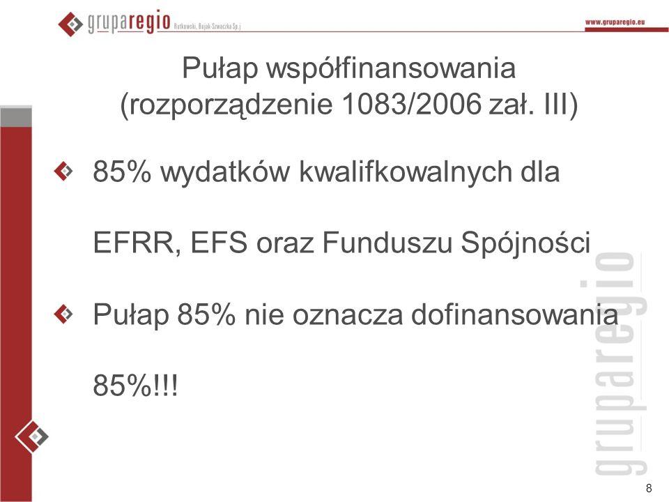 8 Pułap współfinansowania (rozporządzenie 1083/2006 zał.