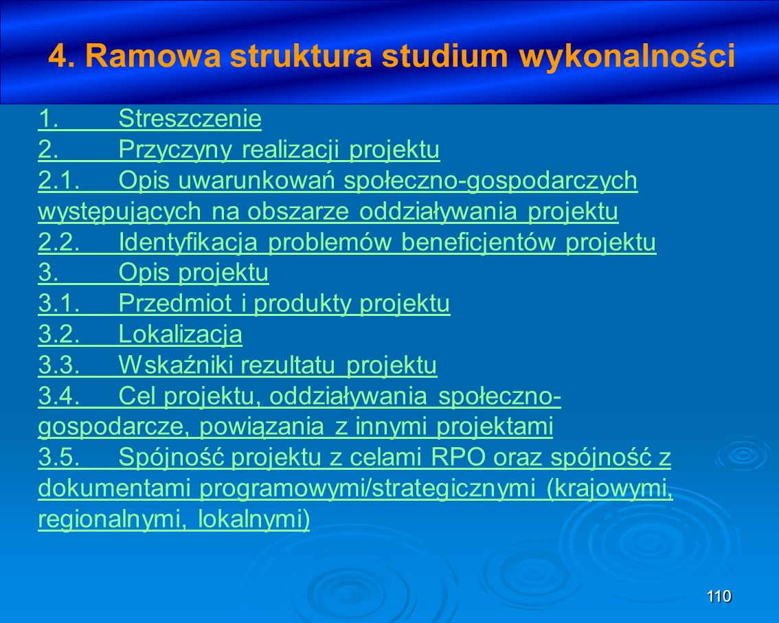 110 4. Ramowa struktura studium wykonalności 1.Streszczenie 2.Przyczyny realizacji projektu 2.1.Opis uwarunkowań społeczno-gospodarczych występujących