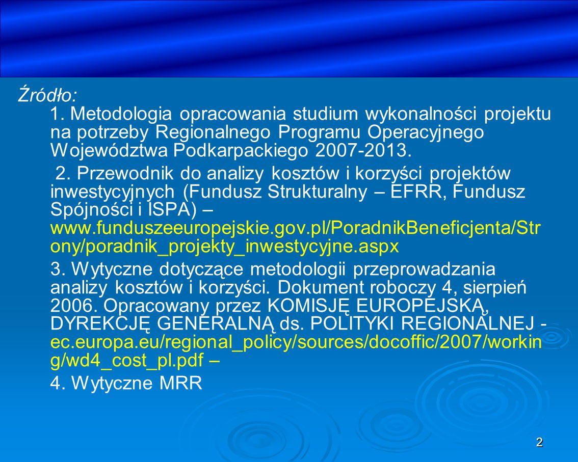 2 Źródło: 1. Metodologia opracowania studium wykonalności projektu na potrzeby Regionalnego Programu Operacyjnego Województwa Podkarpackiego 2007-2013