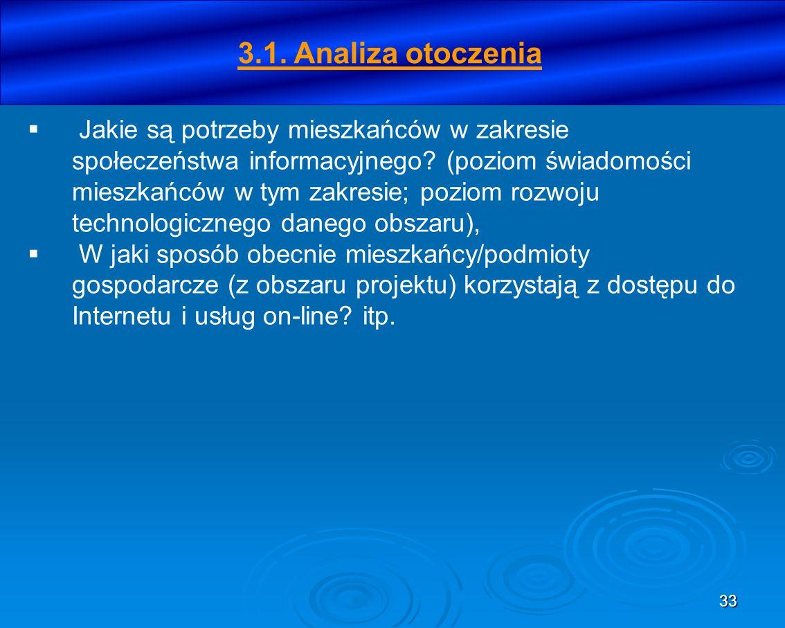 33 3.1. Analiza otoczenia Jakie są potrzeby mieszkańców w zakresie społeczeństwa informacyjnego? (poziom świadomości mieszkańców w tym zakresie; pozio