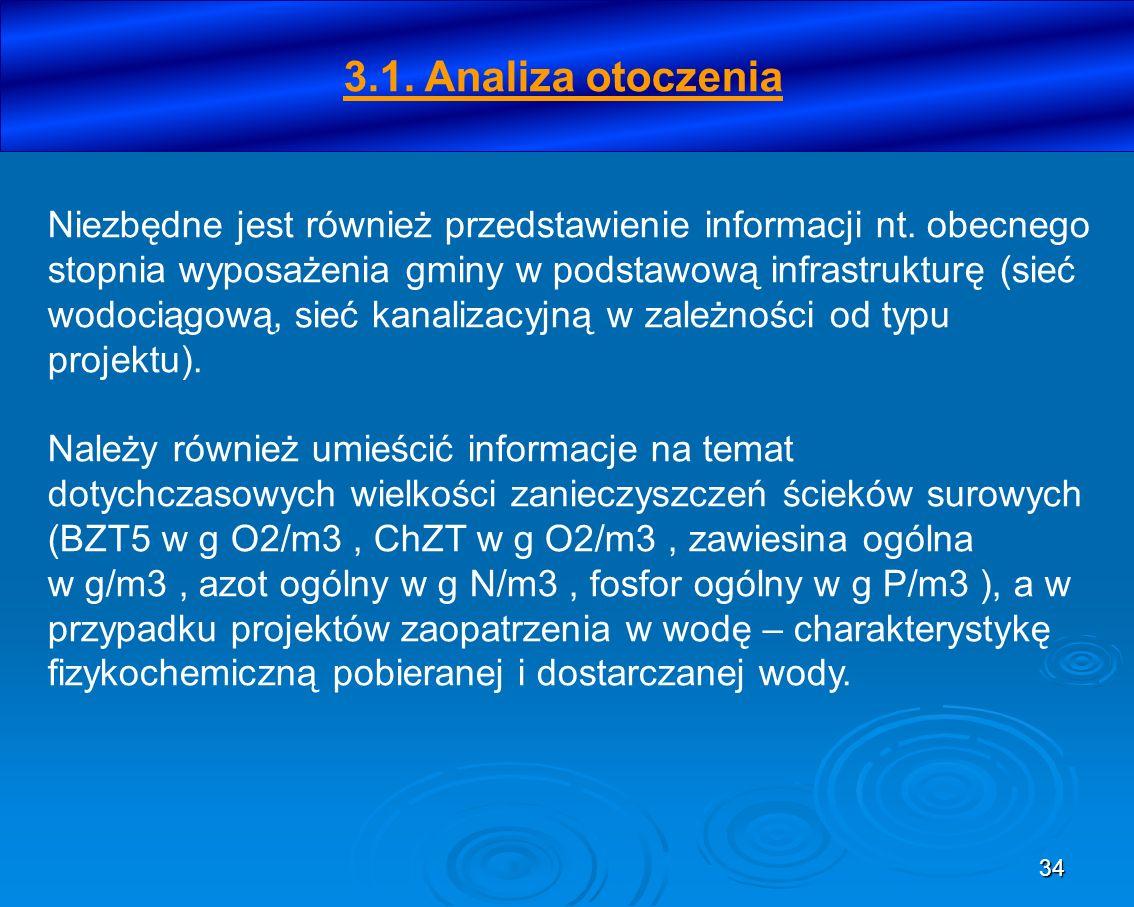 34 3.1. Analiza otoczenia Niezbędne jest również przedstawienie informacji nt. obecnego stopnia wyposażenia gminy w podstawową infrastrukturę (sieć wo