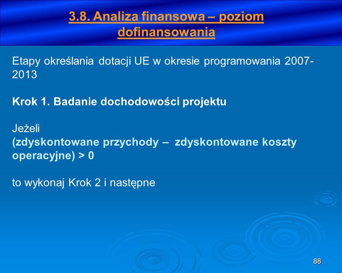 88 Etapy określania dotacji UE w okresie programowania 2007- 2013 Krok 1. Badanie dochodowości projektu Jeżeli (zdyskontowane przychody – zdyskontowan