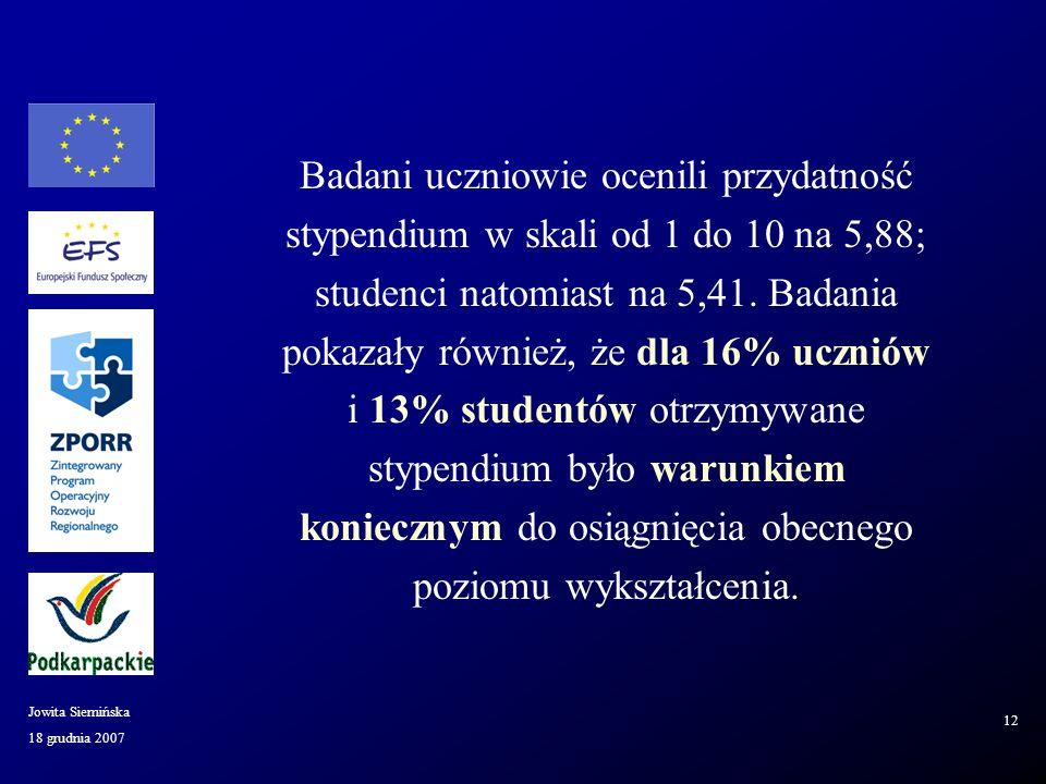 18 grudnia 2007 Jowita Siemińska 12 Badani uczniowie ocenili przydatność stypendium w skali od 1 do 10 na 5,88; studenci natomiast na 5,41.