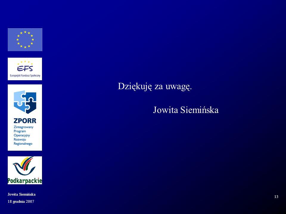 18 grudnia 2007 Jowita Siemińska 13 Dziękuję za uwagę. Jowita Siemińska