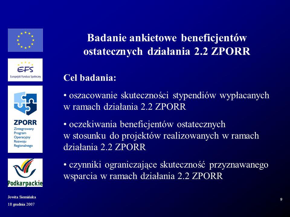 18 grudnia 2007 Jowita Siemińska 9 Cel badania: oszacowanie skuteczności stypendiów wypłacanych w ramach działania 2.2 ZPORR oczekiwania beneficjentów ostatecznych w stosunku do projektów realizowanych w ramach działania 2.2 ZPORR czynniki ograniczające skuteczność przyznawanego wsparcia w ramach działania 2.2 ZPORR Badanie ankietowe beneficjentów ostatecznych działania 2.2 ZPORR
