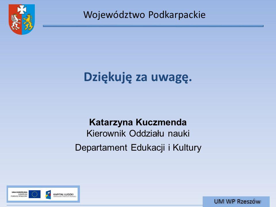 Województwo Podkarpackie UM WP Rzeszów Dziękuję za uwagę.