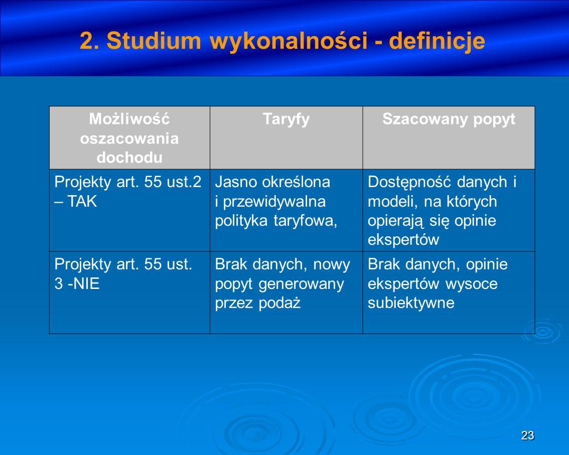 23 2. Studium wykonalności - definicje Możliwość oszacowania dochodu TaryfySzacowany popyt Projekty art. 55 ust.2 – TAK Jasno określona i przewidywaln