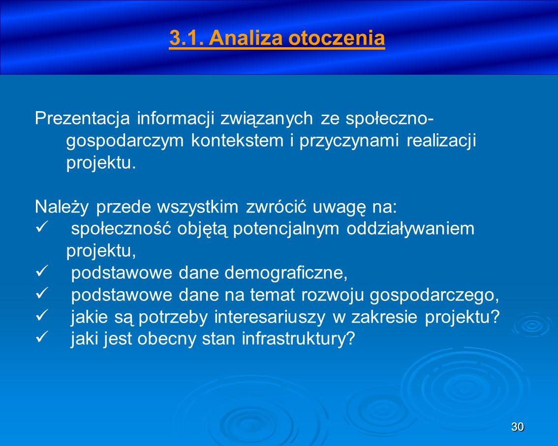 30 3.1. Analiza otoczenia Prezentacja informacji związanych ze społeczno- gospodarczym kontekstem i przyczynami realizacji projektu. Należy przede wsz