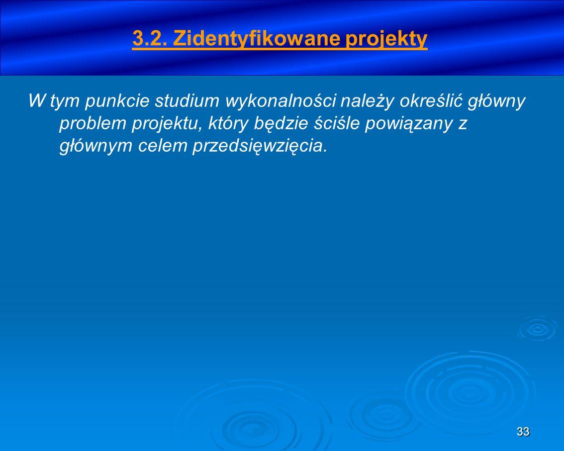 33 3.2. Zidentyfikowane projekty W tym punkcie studium wykonalności należy określić główny problem projektu, który będzie ściśle powiązany z głównym c