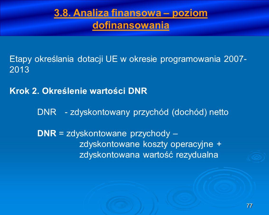 77 Etapy określania dotacji UE w okresie programowania 2007- 2013 Krok 2. Określenie wartości DNR DNR- zdyskontowany przychód (dochód) netto DNR = zdy