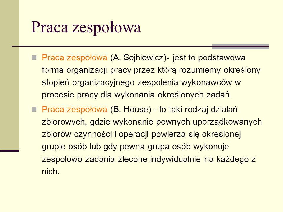 Praca zespołowa Praca zespołowa (A. Sejhiewicz)- jest to podstawowa forma organizacji pracy przez którą rozumiemy określony stopień organizacyjnego ze