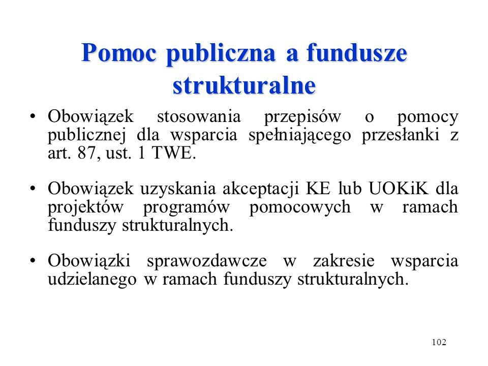 102 Pomoc publiczna a fundusze strukturalne Obowiązek stosowania przepisów o pomocy publicznej dla wsparcia spełniającego przesłanki z art. 87, ust. 1