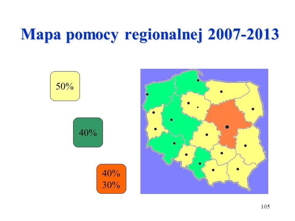 105 Mapa pomocy regionalnej 2007-2013 50% 40% 30%