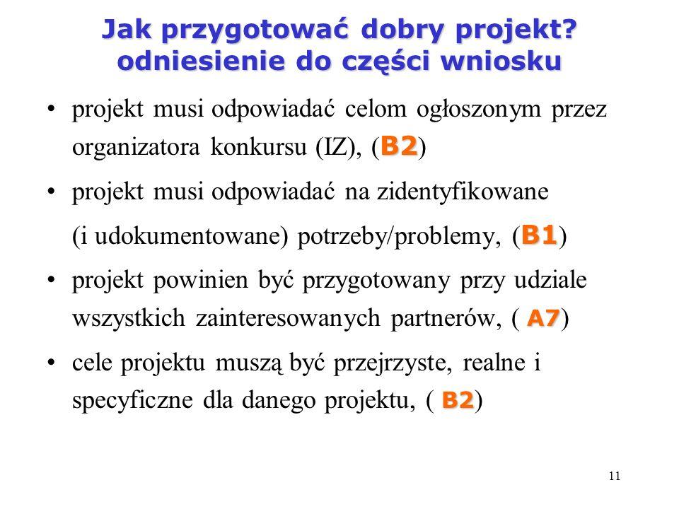 11 Jak przygotować dobry projekt? odniesienie do części wniosku B2projekt musi odpowiadać celom ogłoszonym przez organizatora konkursu (IZ), ( B2 ) pr