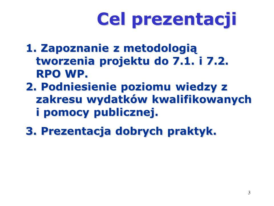 3 Cel prezentacji Cel prezentacji 1. Zapoznanie z metodologią tworzenia projektu do 7.1. i 7.2. RPO WP. 2. Podniesienie poziomu wiedzy z zakresu wydat