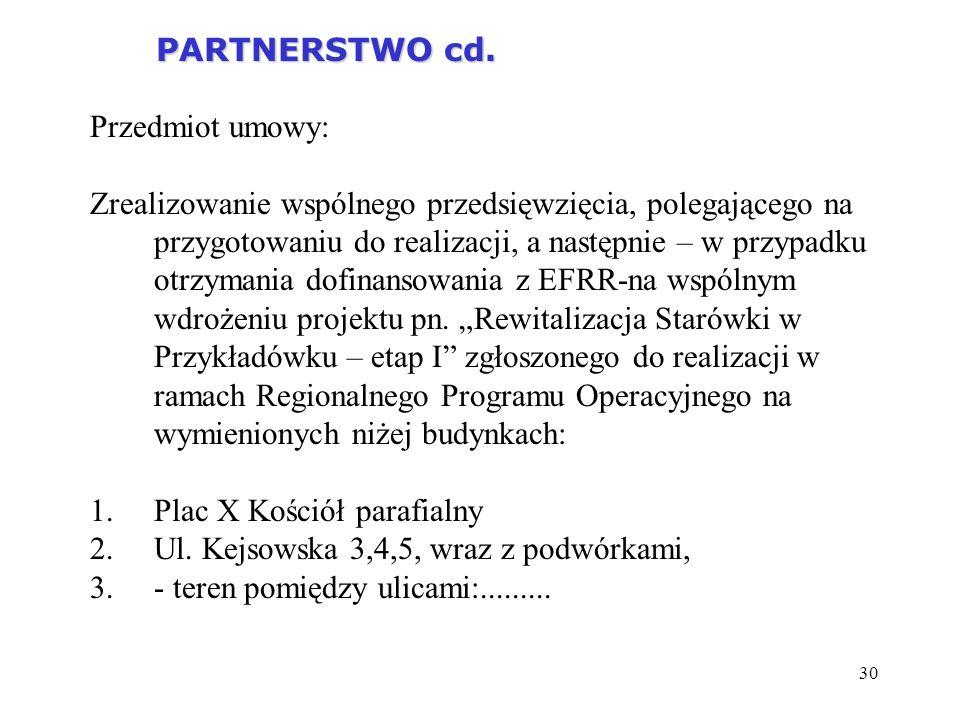 30 PARTNERSTWO cd. PARTNERSTWO cd. Przedmiot umowy: Zrealizowanie wspólnego przedsięwzięcia, polegającego na przygotowaniu do realizacji, a następnie