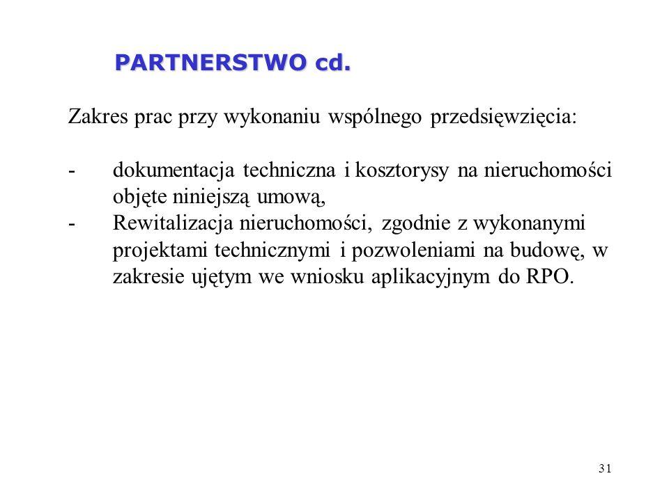 31 PARTNERSTWO cd. PARTNERSTWO cd. Zakres prac przy wykonaniu wspólnego przedsięwzięcia: -dokumentacja techniczna i kosztorysy na nieruchomości objęte