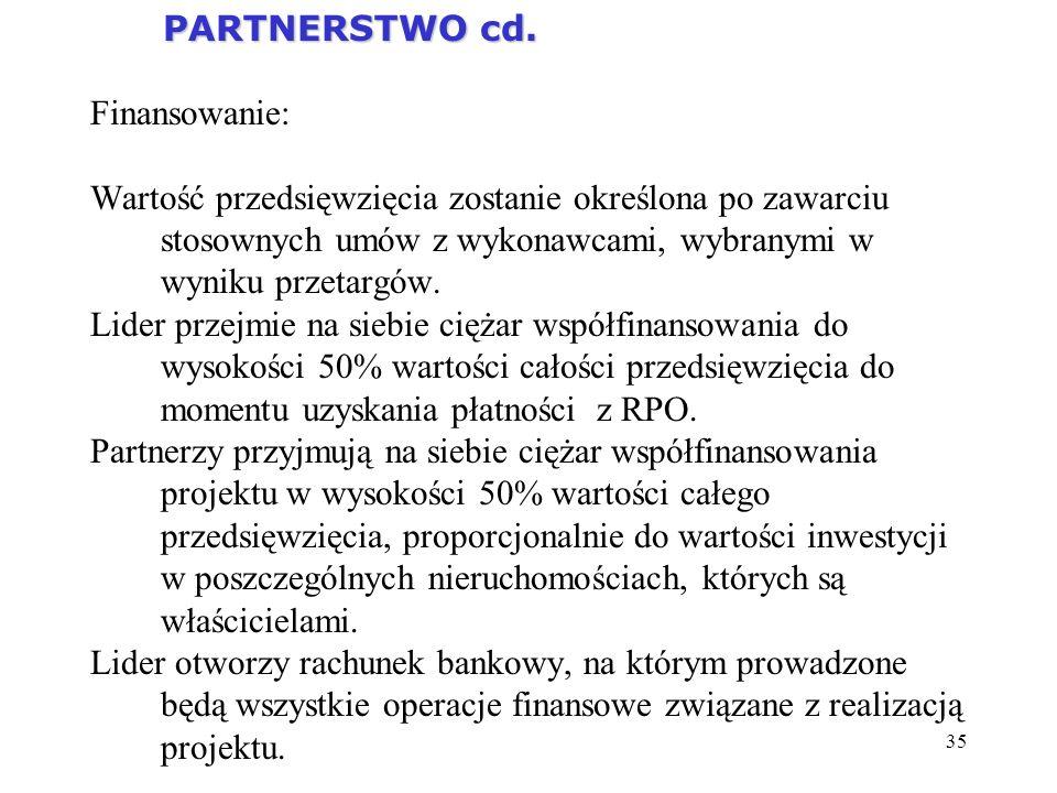 35 PARTNERSTWO cd. PARTNERSTWO cd. Finansowanie: Wartość przedsięwzięcia zostanie określona po zawarciu stosownych umów z wykonawcami, wybranymi w wyn