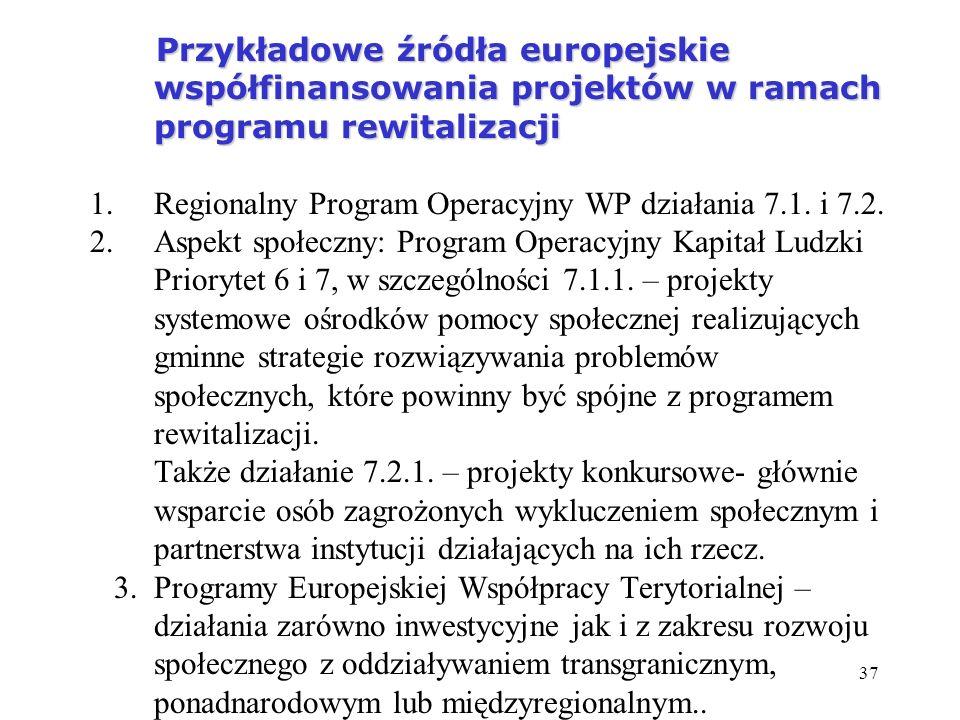 37 Przykładowe źródła europejskie współfinansowania projektów w ramach programu rewitalizacji Przykładowe źródła europejskie współfinansowania projekt