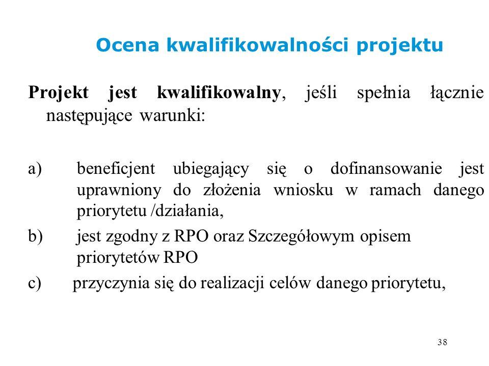 38 Projekt jest kwalifikowalny, jeśli spełnia łącznie następujące warunki: a) beneficjent ubiegający się o dofinansowanie jest uprawniony do złożenia