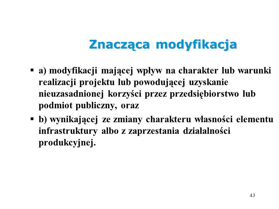 43 Znacząca modyfikacja a) modyfikacji mającej wpływ na charakter lub warunki realizacji projektu lub powodującej uzyskanie nieuzasadnionej korzyści p