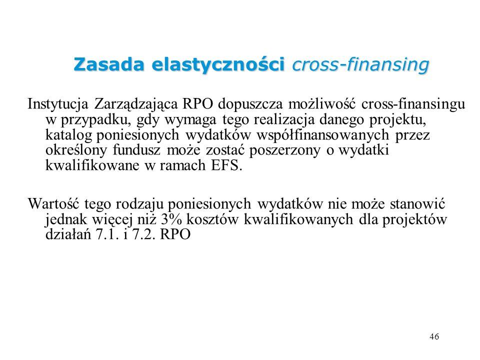 46 Zasada elastyczności cross-finansing Instytucja Zarządzająca RPO dopuszcza możliwość cross-finansingu w przypadku, gdy wymaga tego realizacja daneg
